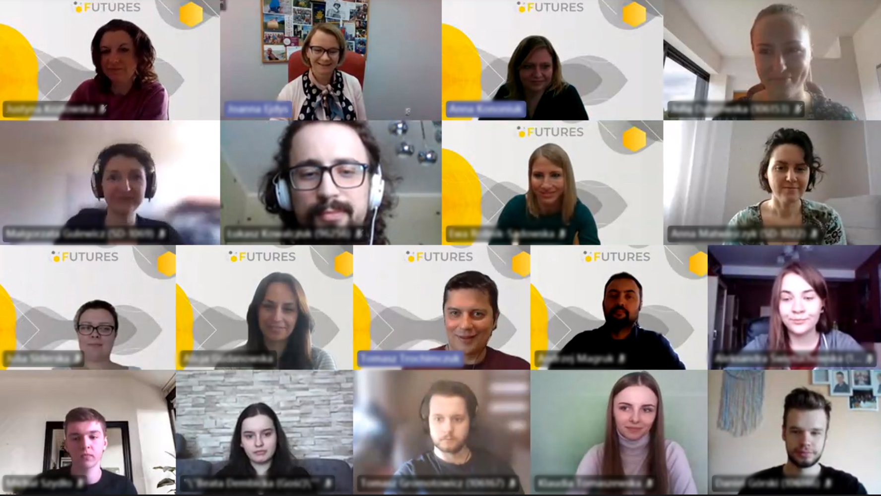 Participants of Anticipation Workshop entitled Futures of Work 2040. MS Teams screenshot.